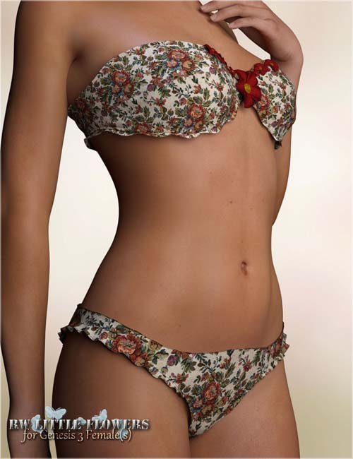 RW Little Flowers Underwear for Genesis 3 Female(s)