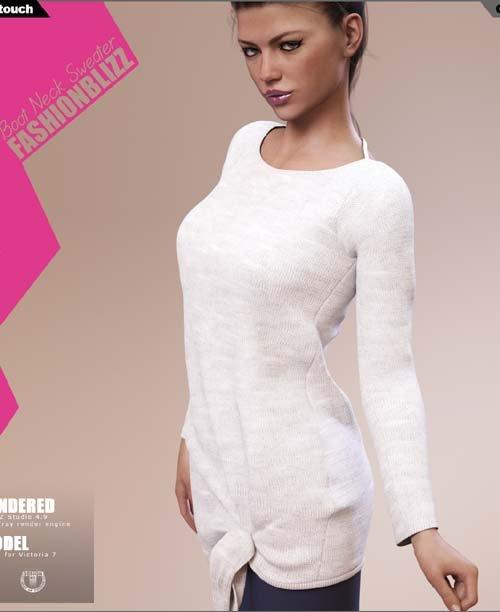 Fashion Blizz: Boat Neck Sweater for Genesis 3 Female(s)