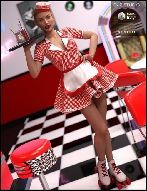 Rolling Diner Waitress Outfit for Genesis 3 Female(s)