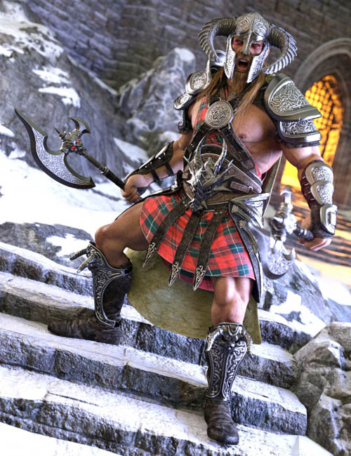 Dragonsbane Barbarian Clothes HD for Genesis 3 Male(s)
