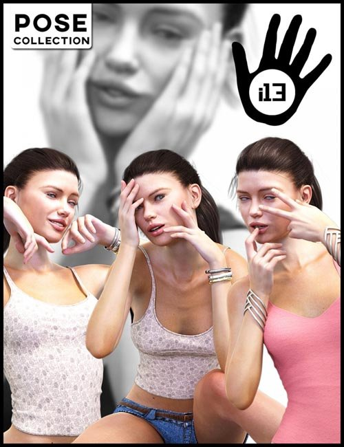 i13 Hands Touching Face Pose Collection for Genesis 3 Female