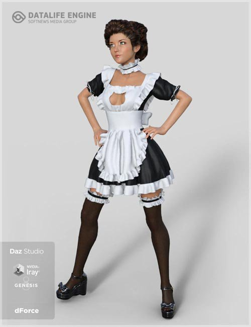 dForce French Maid Servant Outfit for Genesis 8 Female