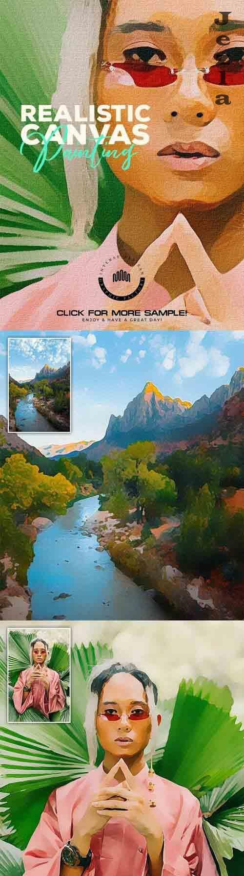 GraphicRiver - Realistic Canvas Painting - Photo Effects 30440200