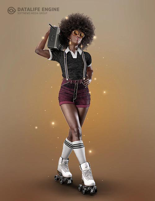 AJC Boogie Roller Girl Outfit and Boombox for Genesis 8 and 8.1 Females