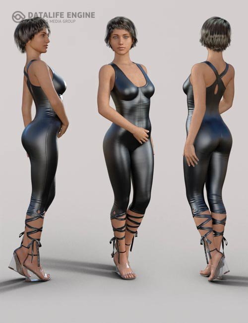 Skinny Jumpsuit and Heeled Sandal for Genesis 8 Female(s)